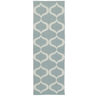 Indoor/Outdoor Laguna Mint and Ivory Geo Flat-Weave Rug (2' x 6')