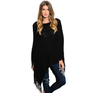 Shop the Trends Women's Knit Poncho With Fringe Trim Hem