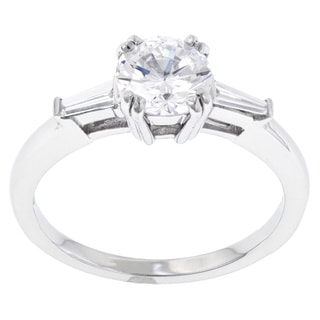 Palladium 1/6ct TDW Diamond and Cubic Zirconia Engagement Ring (G-H, SI1-SI2)