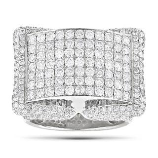 Luxurman 14k White Gold Men's 4 3/5ct TDW Pave Diamond Ring (G-H, SI1-SI2)