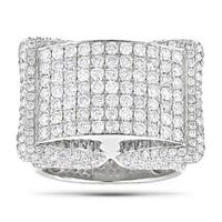 Luxurman 14k White Gold Men's 4 3/5ct TDW Pave Diamond Ring (G-H, SI1-SI2)