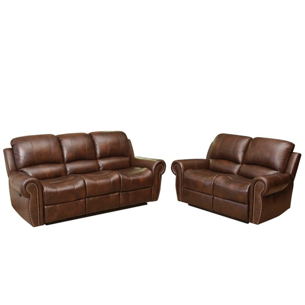 Shop Abbyson Sterling Top Grain Leather Power Reclining