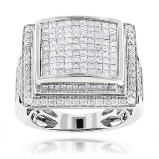 Luxurman 14k Gold Men's 6ct TDW Pave Diamond Ring (H-I, SI1-SI2)