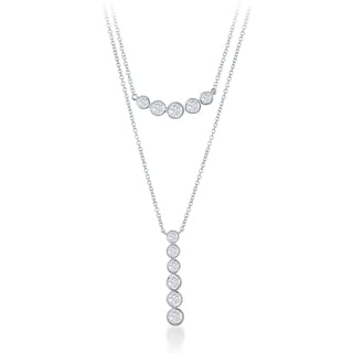 La Preciosa Sterling Silver Bezel-set Cubic Zirconia Horizontal and Vertical Bar Necklace