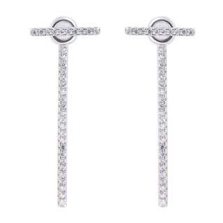 La Preciosa Sterling Silver White Cubic Zirconia Bar Front and Back Earrings