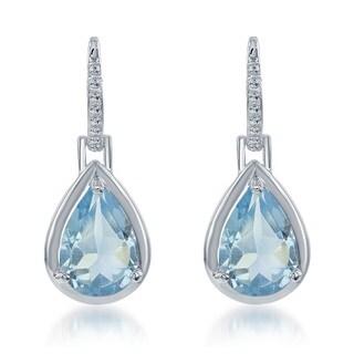 La Preciosa Sterling Silver Gemstone Teardrop Earrings
