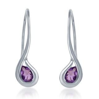 La Preciosa Sterling Silver Gemstone Teardrop Drop Earrings