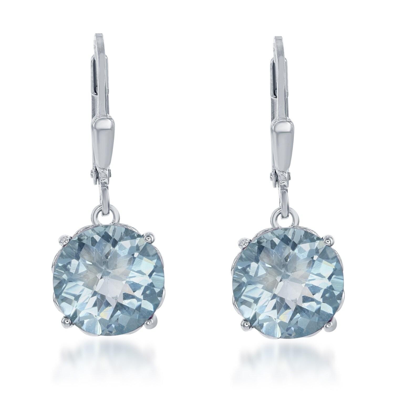 La Preciosa Sterling Silver Round Gemstone Dangle Earring...