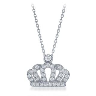 La Preciosa Sterling Silver Cubic Zirconia Crown Pendant