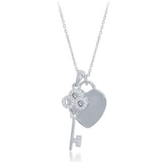La Preciosa Sterling Silver Cubic Zirconia Key and Engravable Heart Necklace