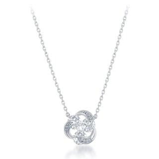 La Preciosa Sterling Silver Cubic Zirconia Triple Knot Necklace