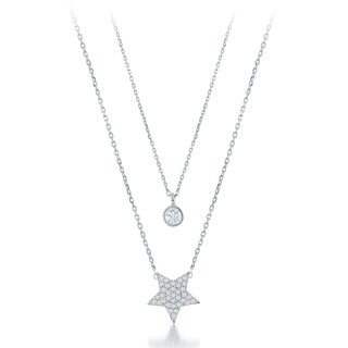 La Preciosa Sterling Silver Double Strand Cubic Zirconia Circle and Star Necklace
