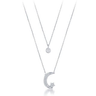 La Preciosa Sterling Silver Double Strand Cubic Zirconia Circle and Moon with Star Necklace