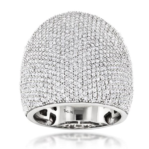 Luxurman 14k White Gold 3 1/4ct TDW Dome Pave Diamond Ring
