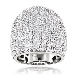 Luxurman 14k White Gold 3 1/4ct TDW Dome Pave Diamond Ring (G-H, SI1-SI2)