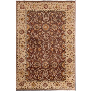 ABC Accents Sultanabad Persian-style Brown Hand-knotted Wool Rug (6' x 9')