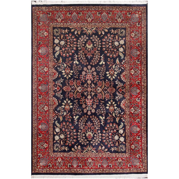 Shop ABC Accents Persian Sarouk Navy Hand-knotted Wool Rug