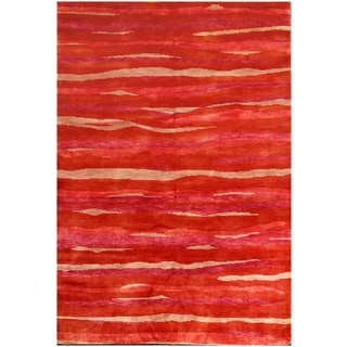 ABC Accents Tibet Red Wool and Silk Rug (6' x 9')