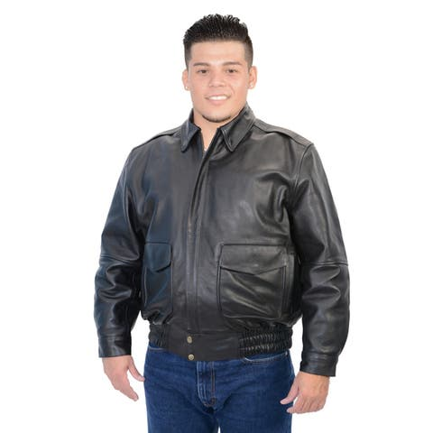 Men's Classic Black Leather Bomber Jacket