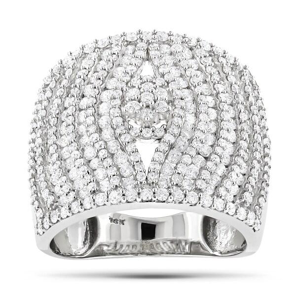 Luxurman 14k White Gold 2 1/2ct TDW Wide Band Diamond Ring