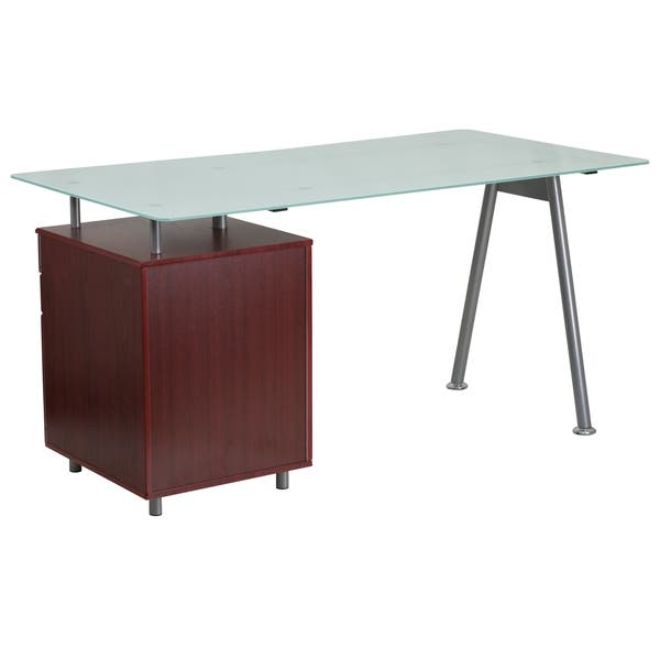 Computer Desk With Tempered Gl Top