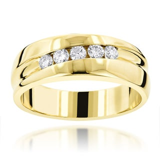 Luxurman 14k Gold 2/5ct 5-stone Male Engagement Ring Collection (G-H, VS-SI)
