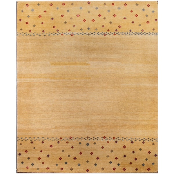 Shop ABC Accents Gabbeh Tribal Wool Light Gold Rug