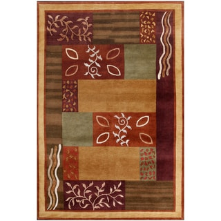 ABC Accents Tibet Multi-colored Wool and Silk Rug (6' x 9')