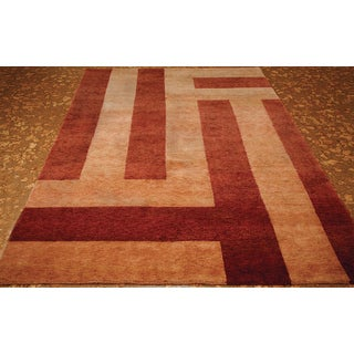 ABC Accents Tibet Stripes Purple Peach Wool Rug (6' x 9')