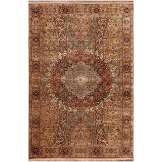 ABC Accents Gome Persian Brown Hand-knotted Wool Rug (6' x 9')