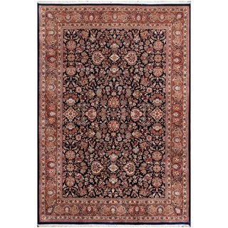 ABC Accents Persian Tabriz Navy Hand-knotted Wool Rug (6' x 9')