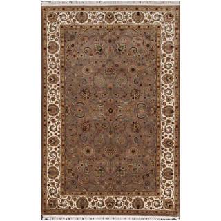 ABC Accents Jaipur Mocha Hand-knotted Wool Rug (6' x 9')