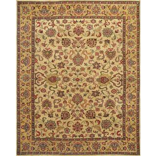 ABC Accents Persian-style Kashan Hand-knotted Light Gold Wool Rug (6' x 9')