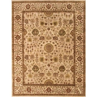 ABC Accents Persian-style Tree of Life Hnadknotted Ivory Wool Rug (6' x 9')