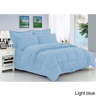 Elegant Comfort Wrinkle-Resistant Soft Striped Down-Alternative 8-Piece Bed in a Bag Set