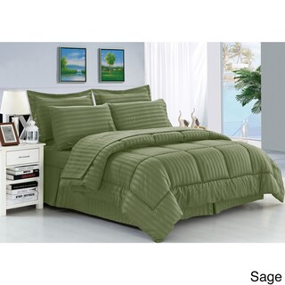 Palm Canyon Capri Wrinkle Resistant Soft Striped Down Alternative 8-piece Bed in a Bag Set (2 options available)