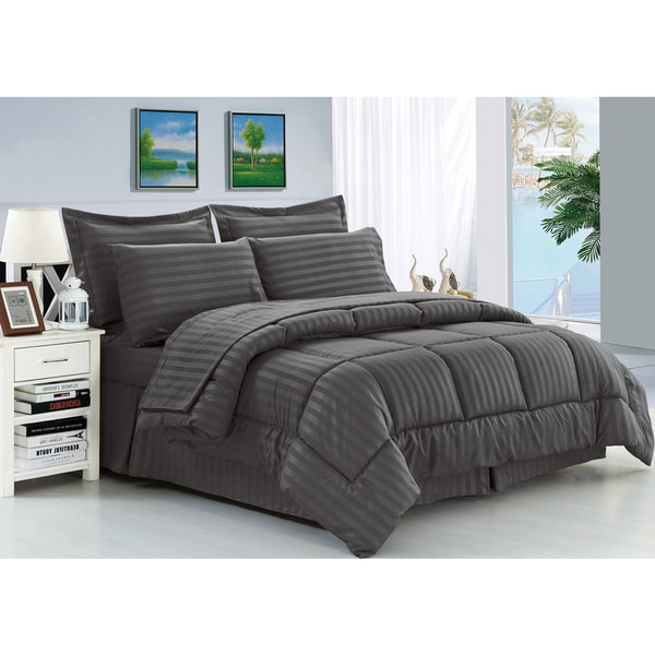 Elegant Comfort Wrinkle-Resistant Soft Striped Down-Alternative 8-Piece Bed in a Bag Set