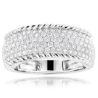 Luxurman 10k White Gold 1 1/8ct TDW Pave Diamond Rope Ring