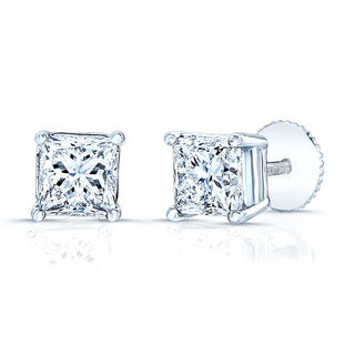 14k White Gold 2ct TDW Princess Cut Diamond Stud Earrings (H, VS1-VS2)