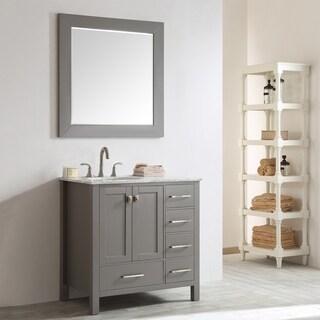 Vinnova Gela 36-inch Grey Single Vanity with Carrera White Marble Top with Mirror
