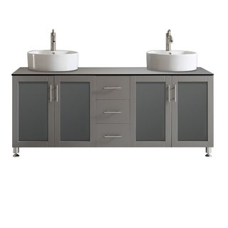 Vinnova Tuscany 72-inch Grey Double Vanity with White Vessel Sink with Glass Countertop without Mirror