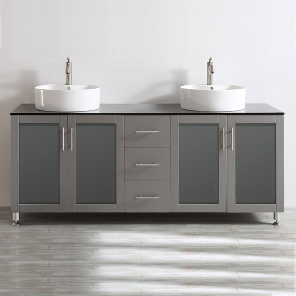 Vinnova Tuscany 72 Inch Grey Double Vanity With White