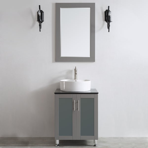 Vinnova Tuscany 24 Inch Single Grey Vanity With White
