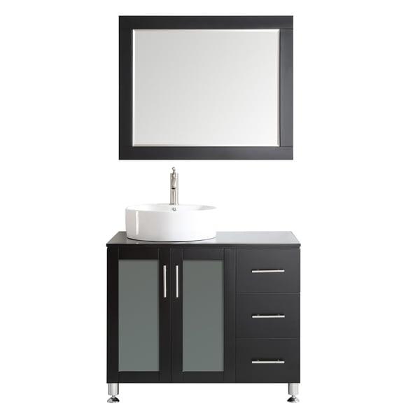Shop vinnova tuscany 36 inch single espresso vanity with white vessel sink glass countertop for 36 inch espresso bathroom vanity