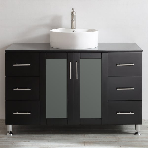 Vinnova tuscany 48 inch espresso single vanity with white - 48 inch bathroom vanity without top ...
