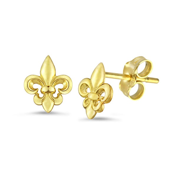 10k Gold Fleur De Lis Stud Earrings