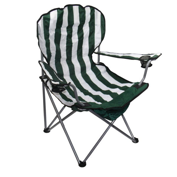 "37.5""H Green Stripe Folding Chair"