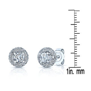 18k White Gold 1/2ct TDW Round Diamond Halo Stud Earrings