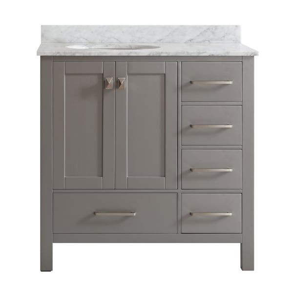 Vinnova Gela 36 Inch Grey Single Vanity With Carrera White Marble Top Without Mirror Free