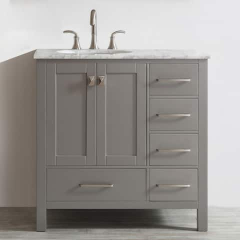 Vinnova Gela 36-inch Grey Single Vanity with Carrera White Marble Top without Mirror